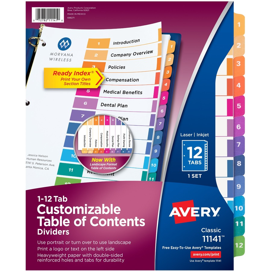 11140 12-Tab Set Avery Ready Index Table of Contents Dividers Black//White