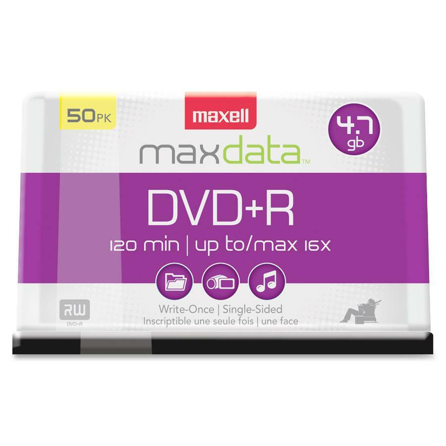 Pacific Paper Co Browse Items Dvd R Maxell 16x Bulk Pack 50 5 Max639013 Recordable Media 470 Gb