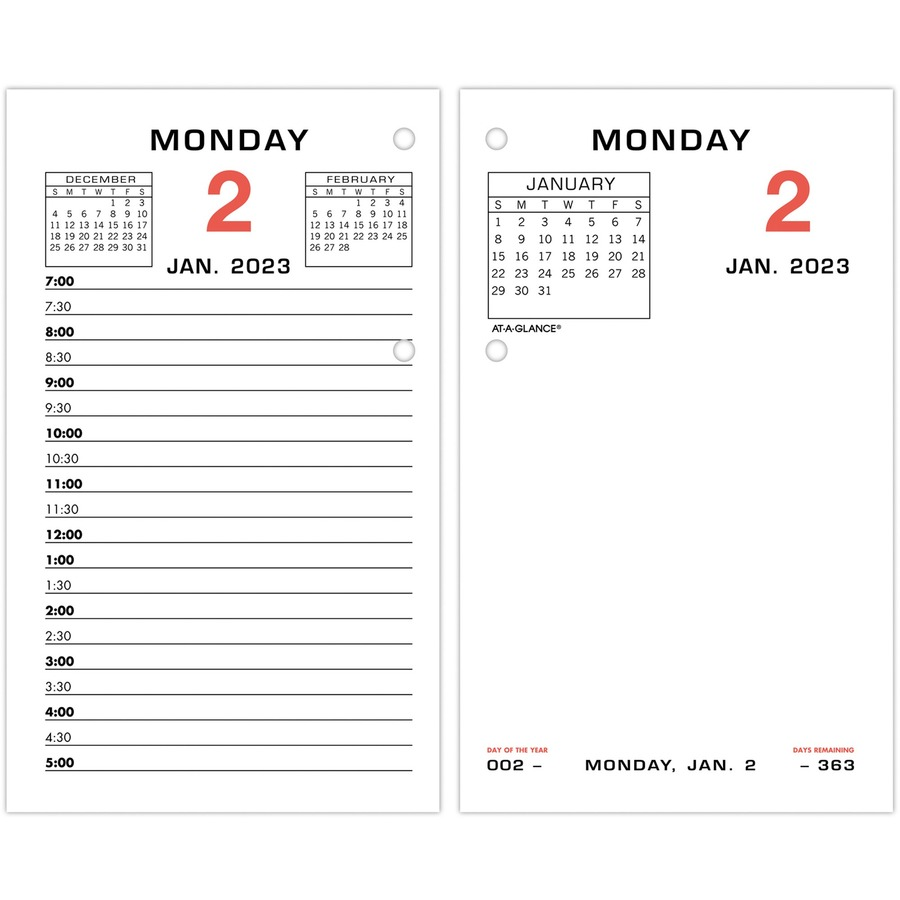 At A Glance Monthly Tab 2 Color Desk Calendar Refill