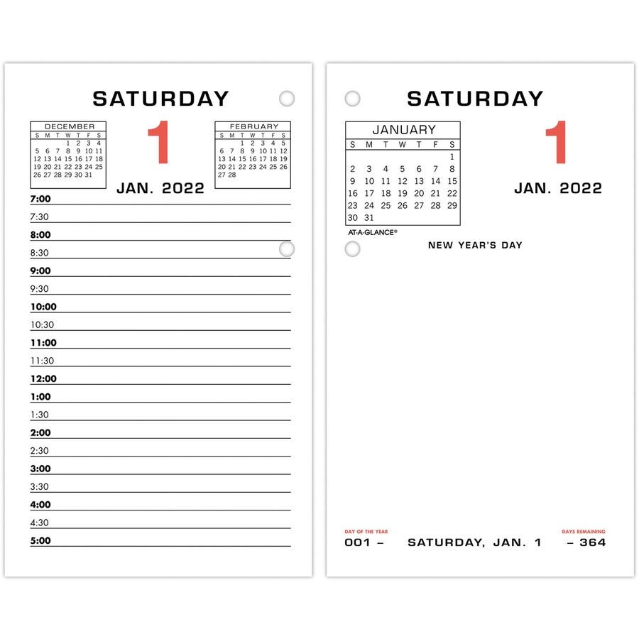 At A Glance Daily Two Color Desk Calendar Refill W Tabs