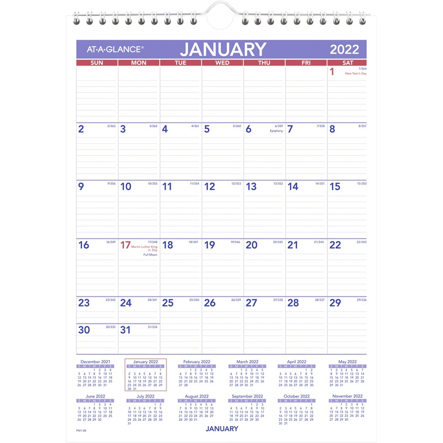 Monthly Wall Calendar : At a glance recycled monthly wall calendar