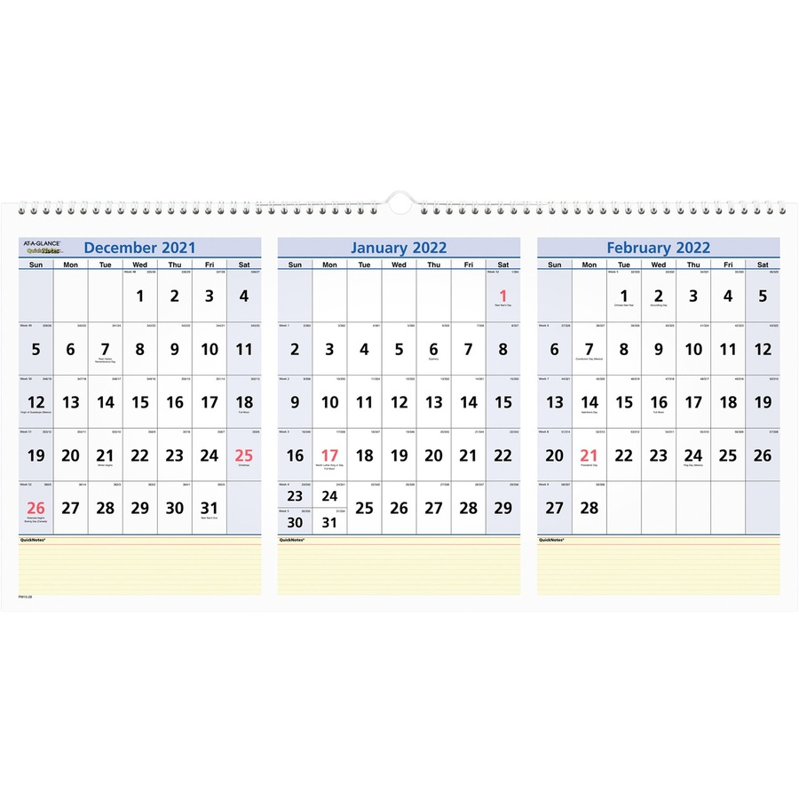at a glance quicknotes 3 month horizontal wall calendar icc