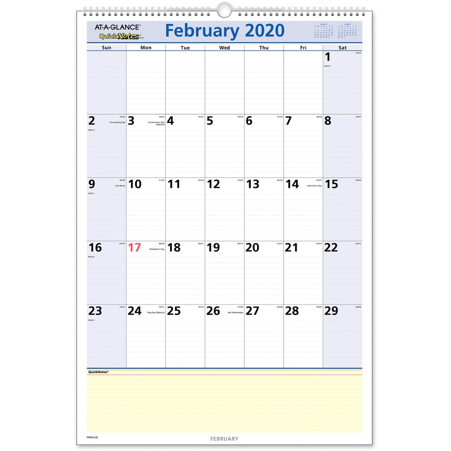 At A Glance Calendar.At A Glance Quicknotes Monthly Wall Calendar Yes Monthly 1 1 Year January 2020 Till January 2021 1 Month Single Page Layout 15 1 2 X 22