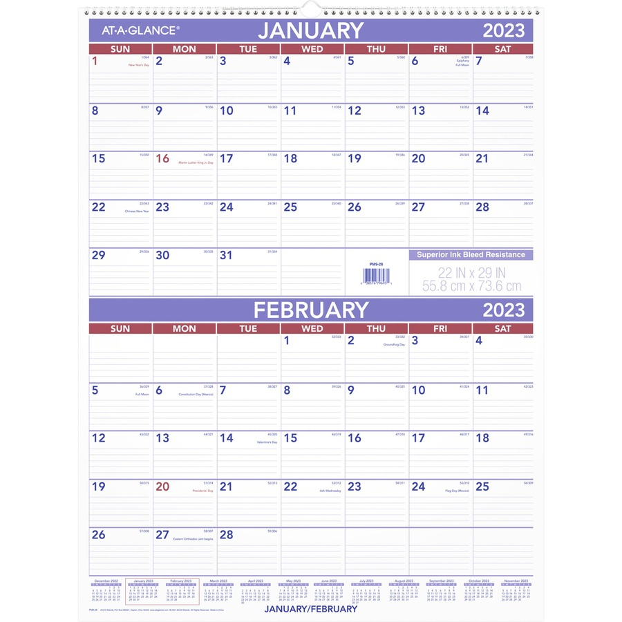 At a glance 2 months per page wall calendar aagpm928 for Double month calendar template