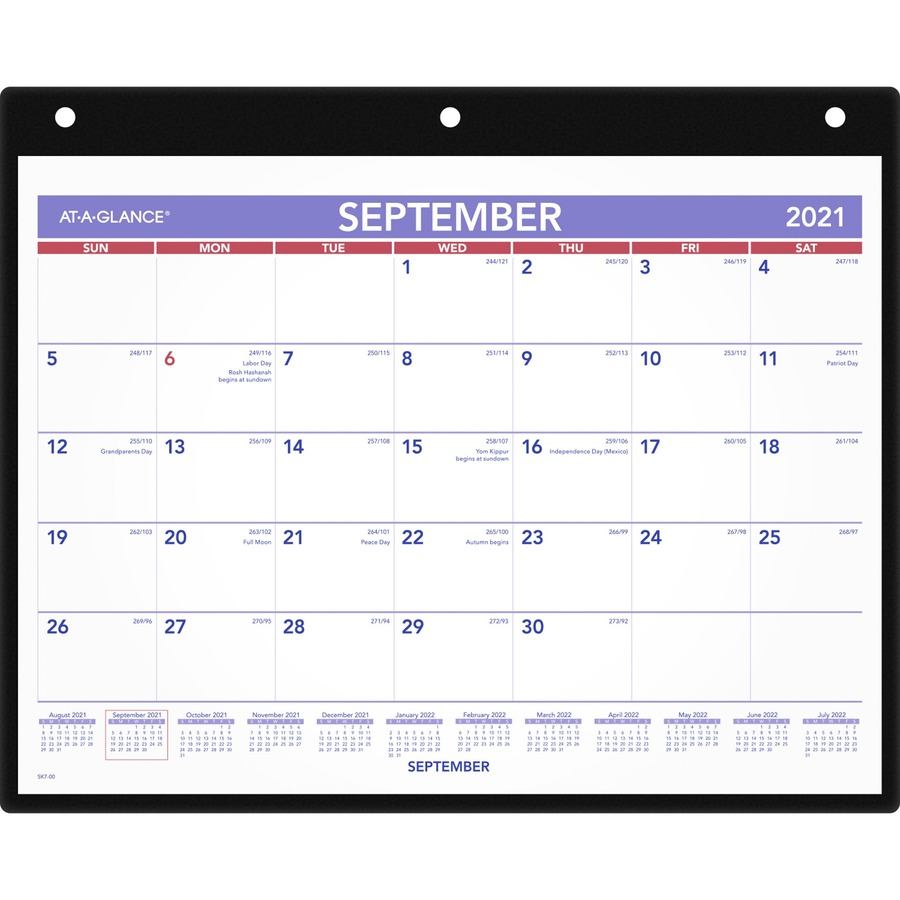 at a glance academic monthly desk wall calendar with poly holder