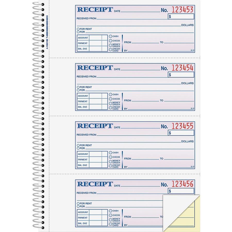 adams wire bound moneyrent receipt books abfsc1182
