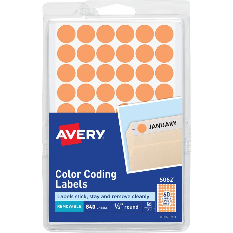 avery 1 2 round color coding labels urban office products