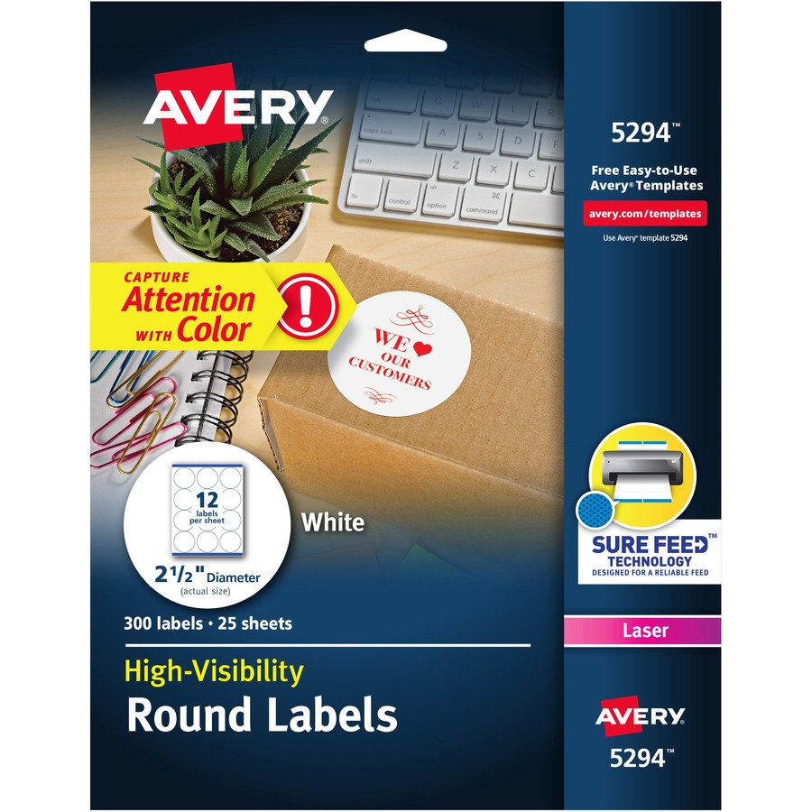 Avery Reg White Round High Visibility Labels Ave5294