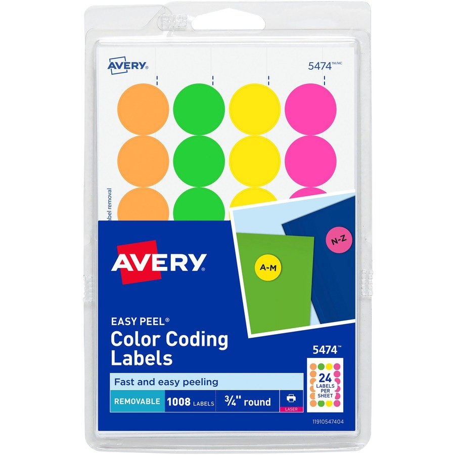 Avery 05474 Avery Print Or Write Round Color Coding Label