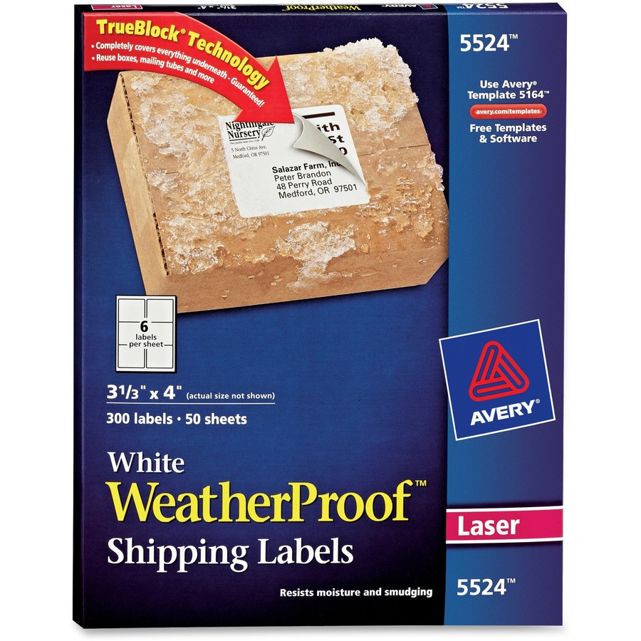 avery weatherproof mailing labels with trueblock technology ave5524