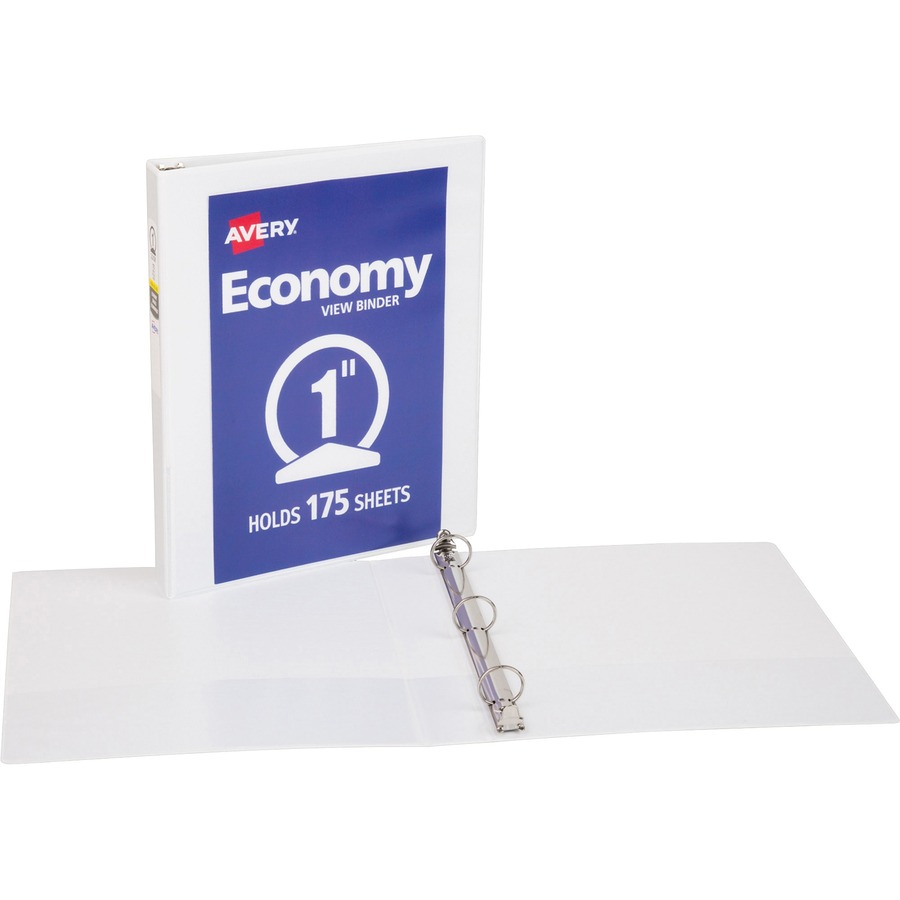 avery 1 economy 3 ring view binder with round rings white
