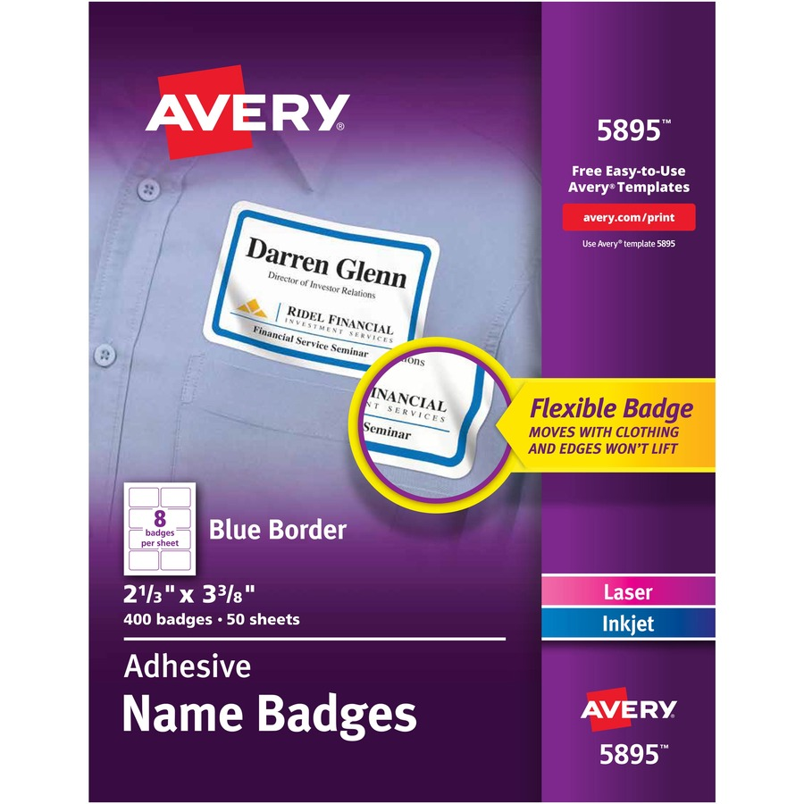 Avery® Flexible Adhesive Name Badge Labels - Removable Adhesive - 2 21/64