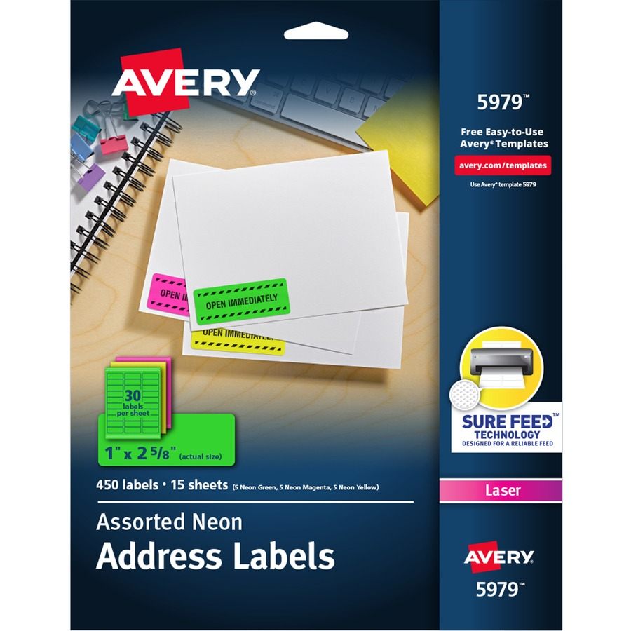 avery neon rectangular labels for laser and or inkjet printers