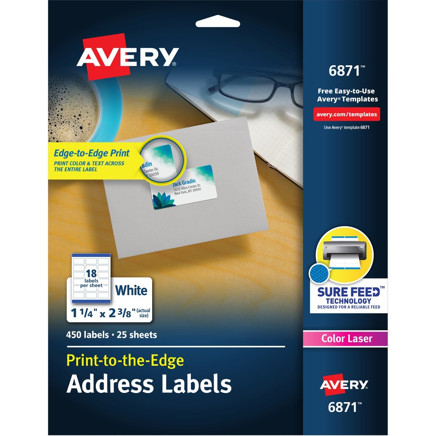 avery white print to the edge address labels the office point
