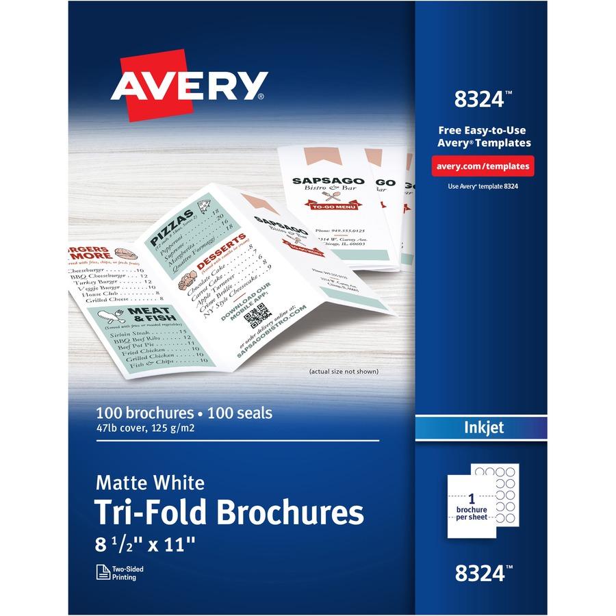 White 100 Sheets//Box 8-1//2 x 11 AVE8324 Avery Brochure Paper Matte