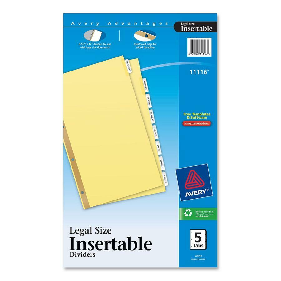 avery worksaver standard insertable tab divider ave11116