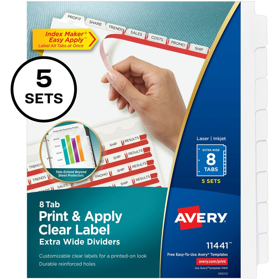 Avery 8-tab print & apply clear label dividers, 5 sets (11437.