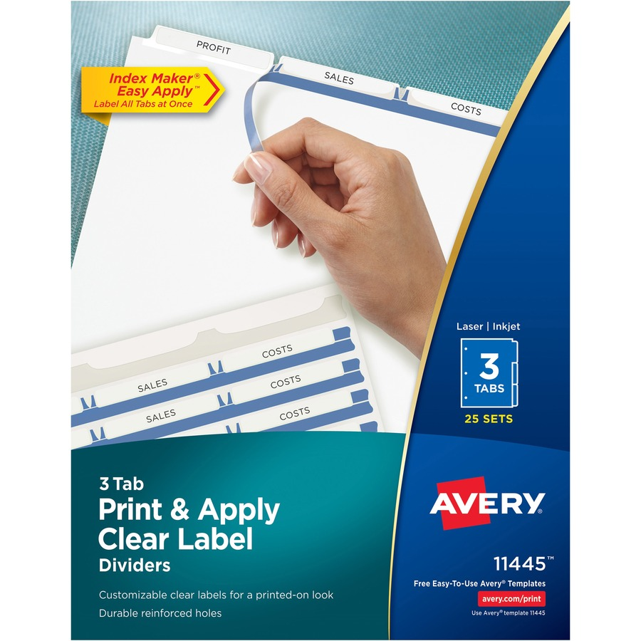 avery u00ae index maker print  u0026 apply clear label dividers with