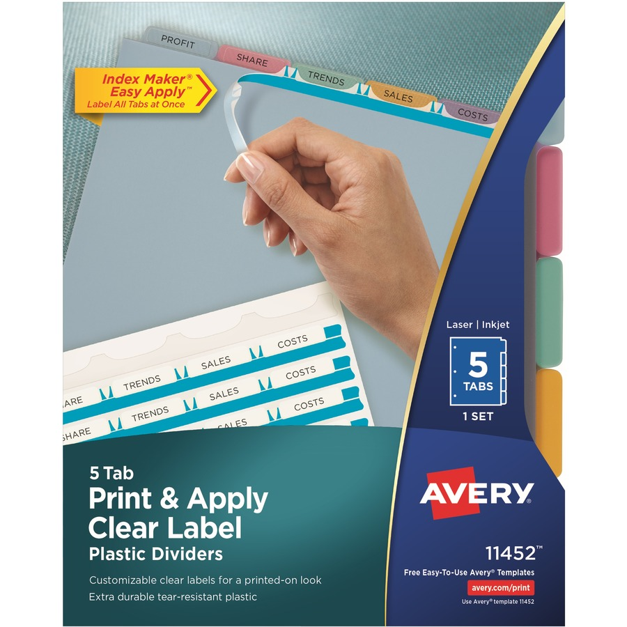 Avery Index Maker Print Apply Clear Label Plastic Dividers