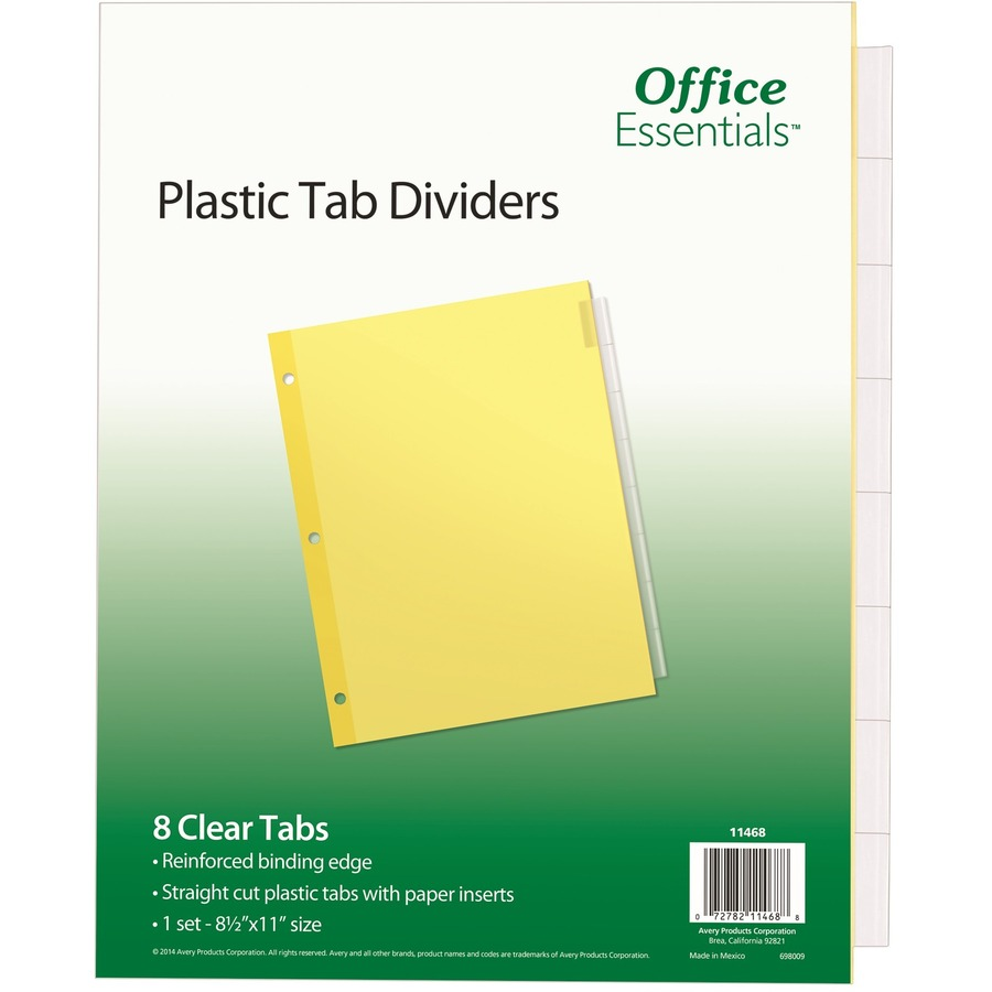 Avery® Office Essentials Insertable Dividers - 8 x Divider(s) - 8  Tab(s)/Set - 8 5