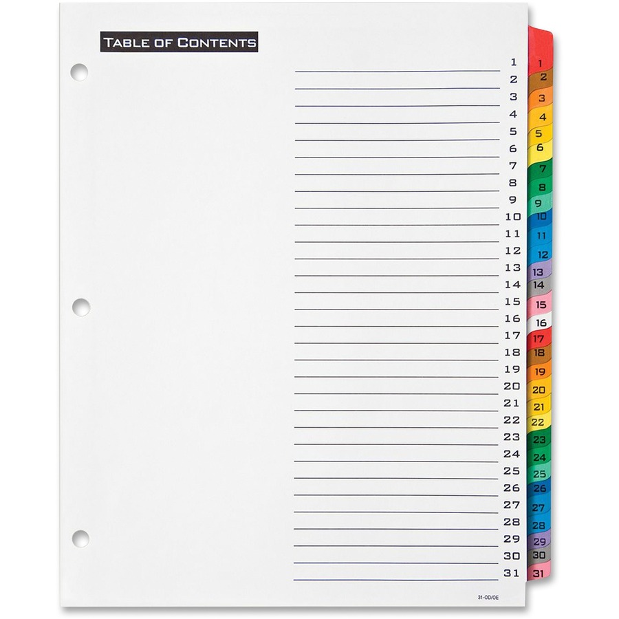 Avery office essentials table 39 n tabs daily divider for Avery table of contents template 10 tab