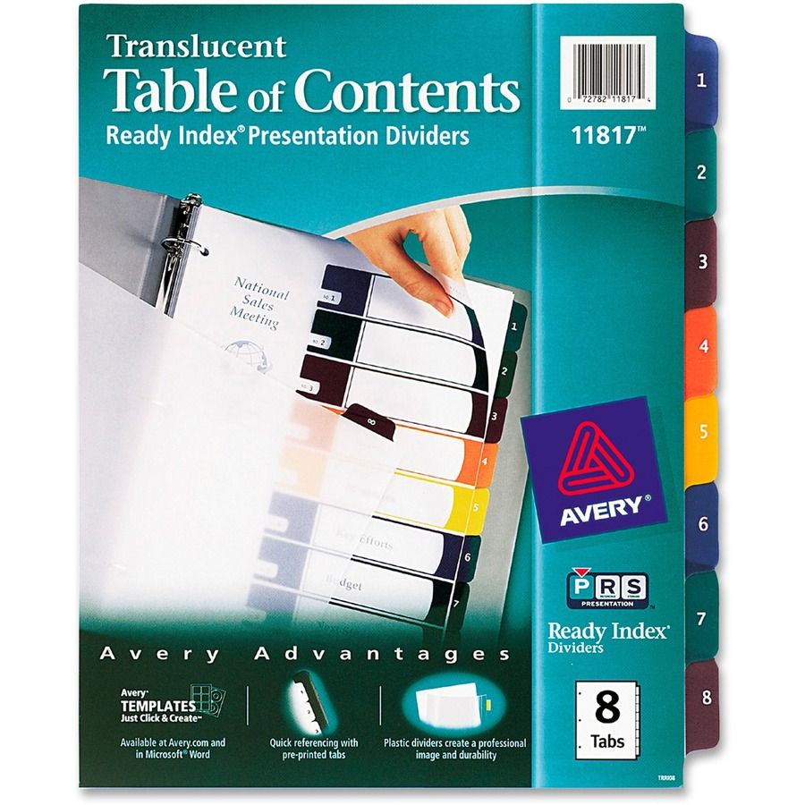 Avery ready index translucent table of content dividers for Avery index tabs template