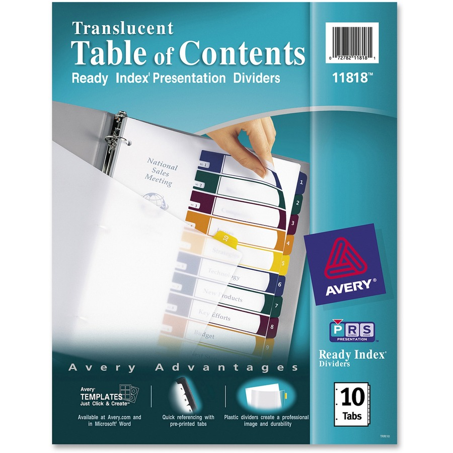 Avery® Ready Index Customizable Table of Contents Translucent ...