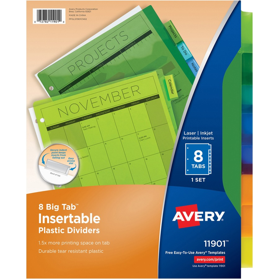 Avery 11901 Avery Big Tab Plastic Insertable Divider Ave11901 Ave