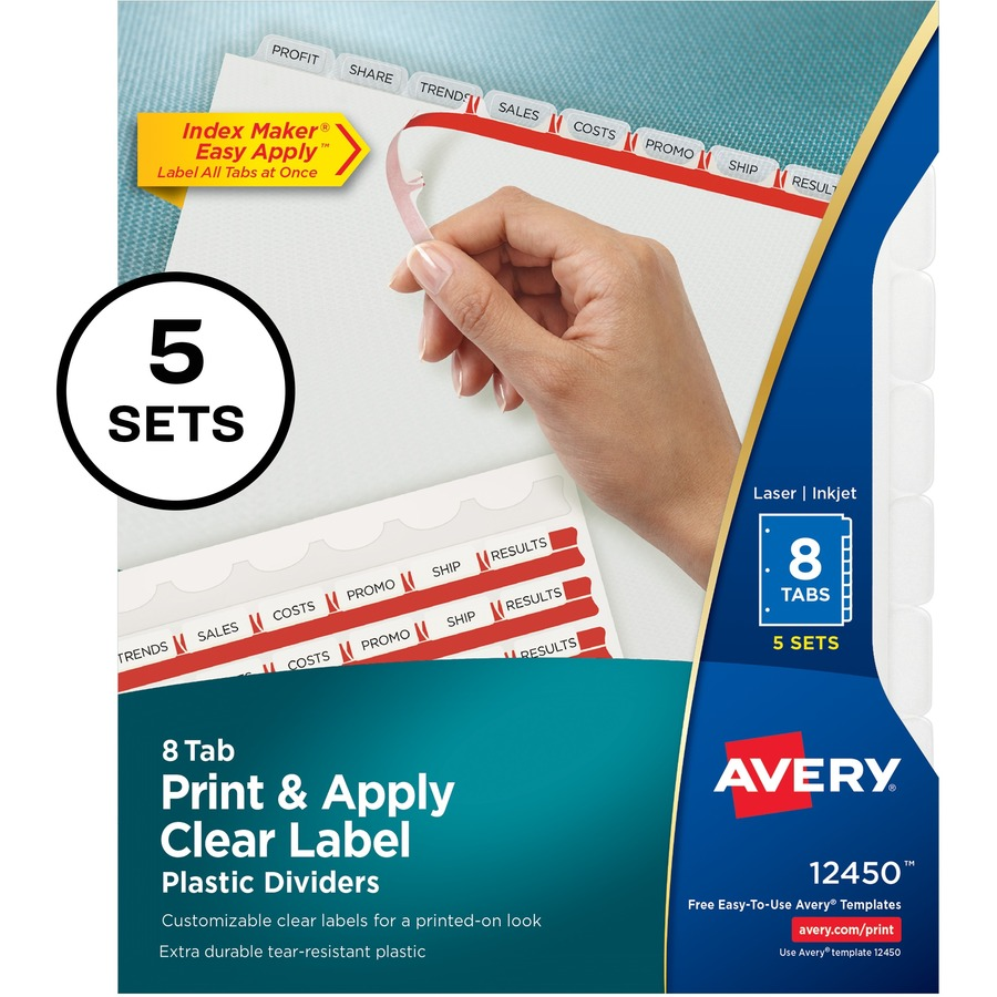 avery templated - avery index maker print apply clear label plastic dividers