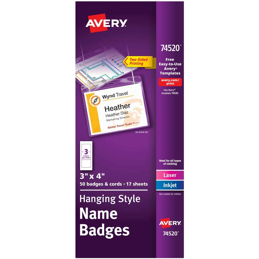 AVE74540 Avery Pin-Style Name Badge Holders with Inserts 100 Badges 3 x 4