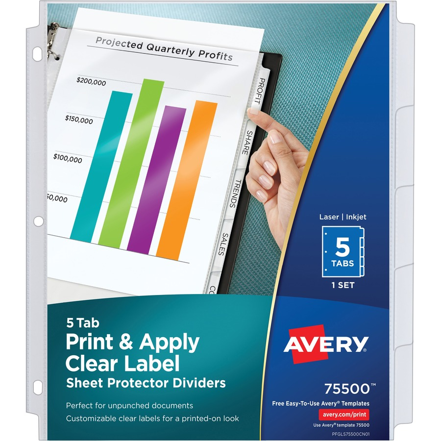 Avery® Index Maker Print & Apply Clear Label Sheet Protector Dividers - 5  Print-on Tab(s) - 5 Tab(s)/Set - 8 5