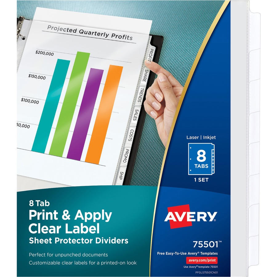 Averyreg Index Maker Print Apply Clear Label Sheet Protector Dividers AVE75501