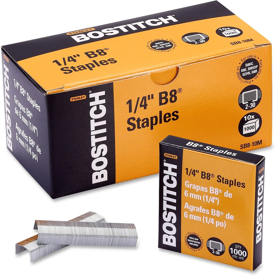 Bostitch PowerCrown Premium Staples - 210 Per Strip - 1/4