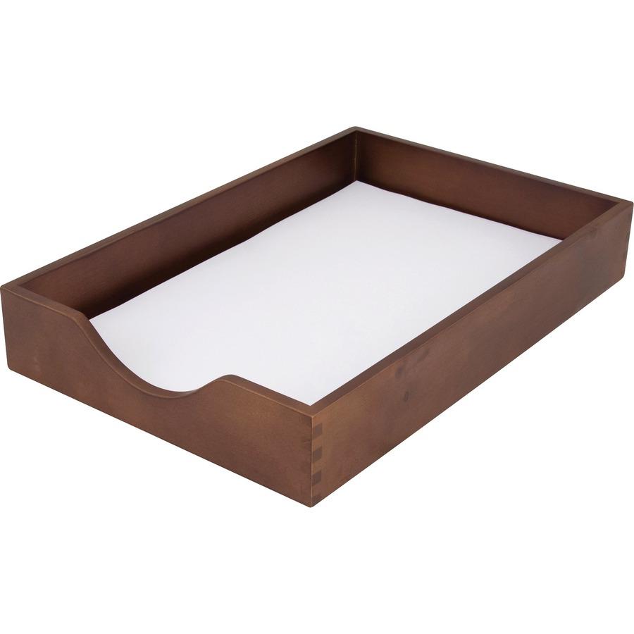 Carver Walnut Finish Solid Wood Desk Trays Zerbee