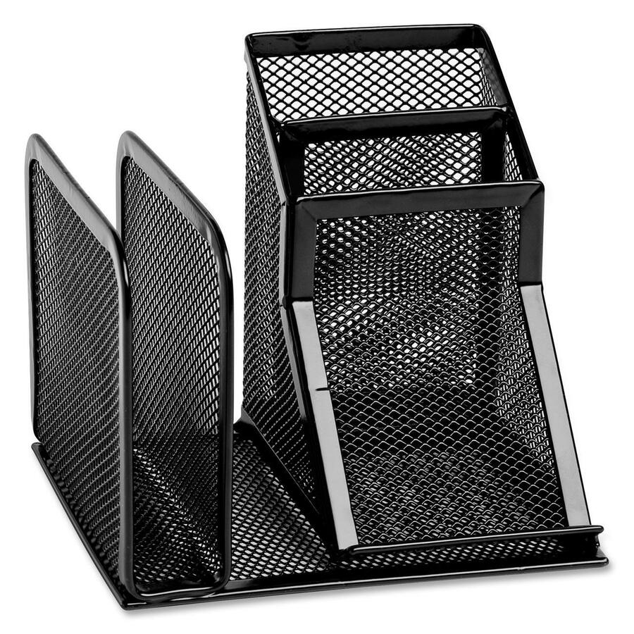 Rolodex Expressions 4 Compartment Mesh Desk Organizer Black S Desktop Steel 1each