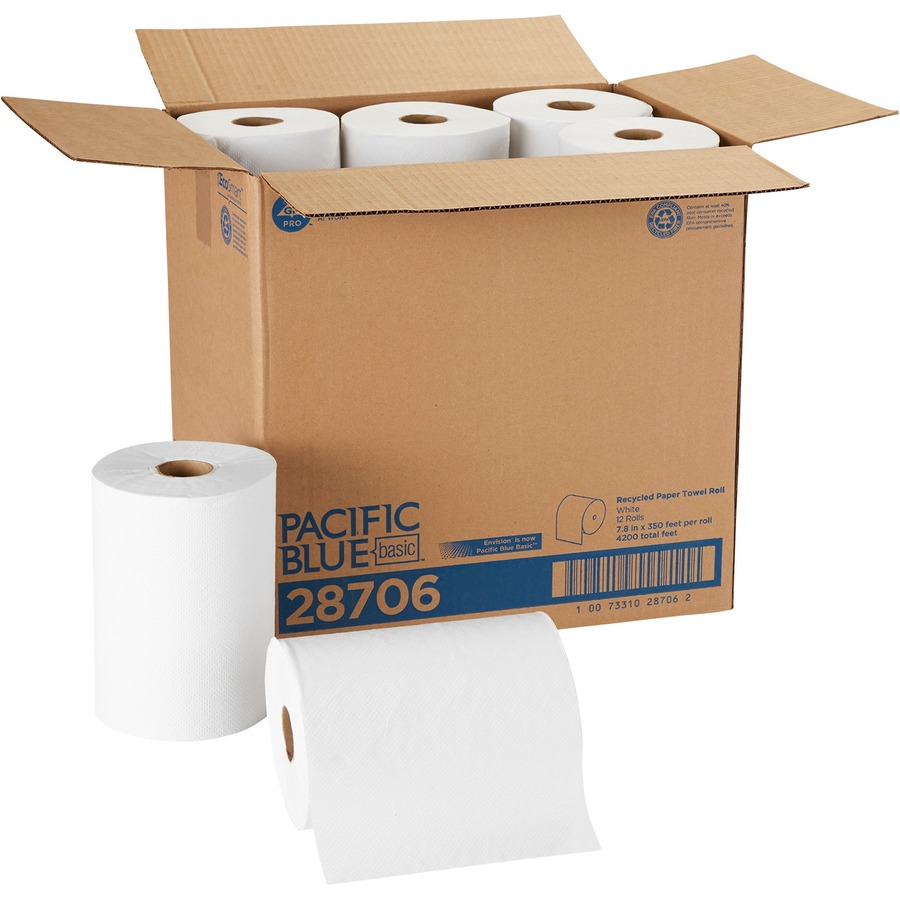 Georgia Pacific Envision White Hardwound Roll Towels Gpc28706