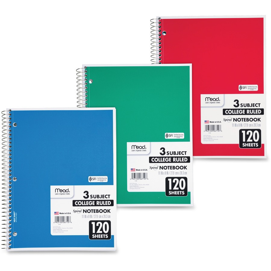 mead 3 subject wirebound college ruled notebooks letter
