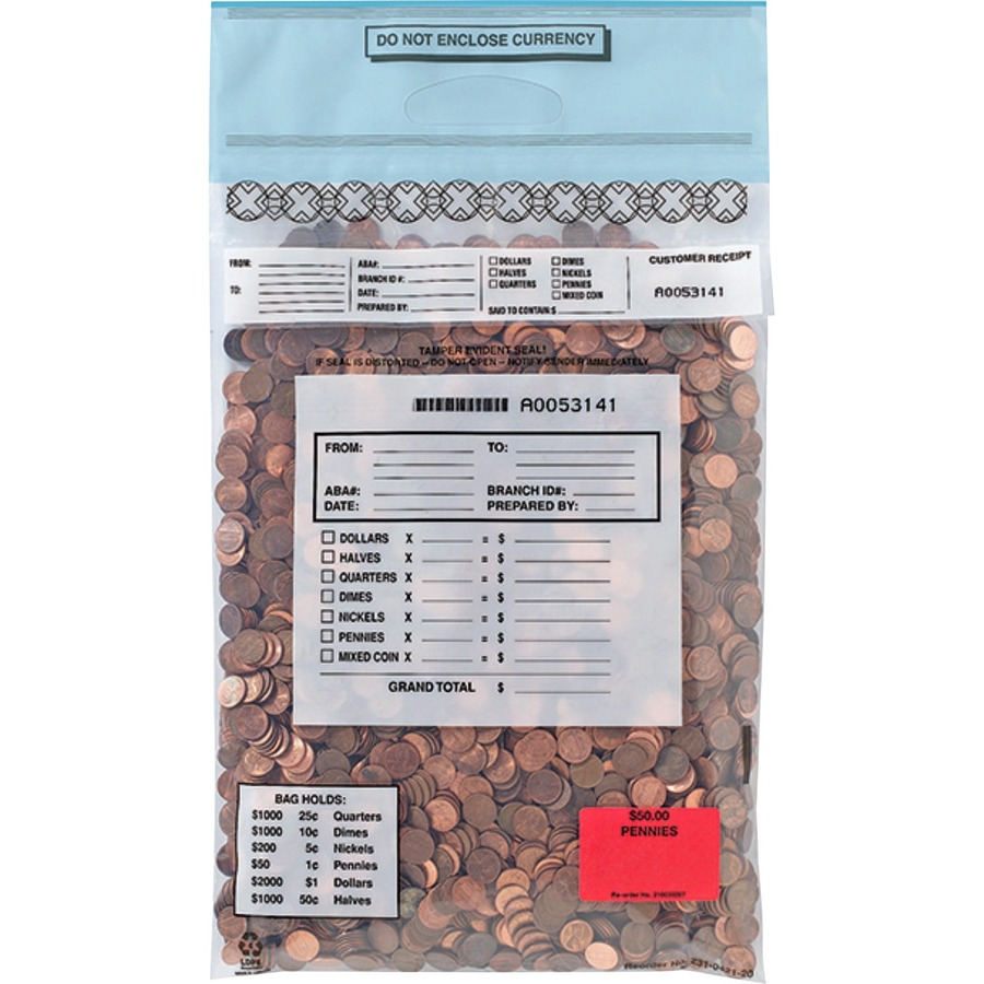 MMF Tamper-Evident Deposit//Cash Bags MMF2362010N20 9 x 12 Plastic BX 100 Bags//Pack Clear