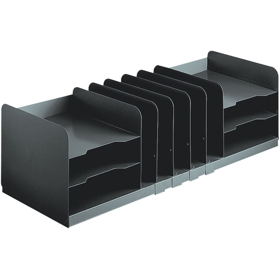 Mmf Jumbo Horizontal Vertical Desktop Organizer 11 Compartment S 8 1 Height X 30 Width Depth Recycled Black Steel 1each