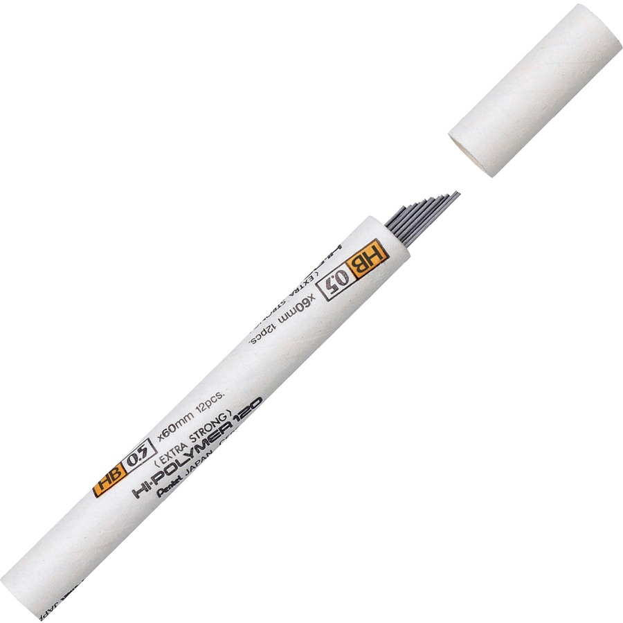 Pentel Premium Hi-Polymer Leads - 0 5 mmFine Point - HB - Black - 12 / Tube