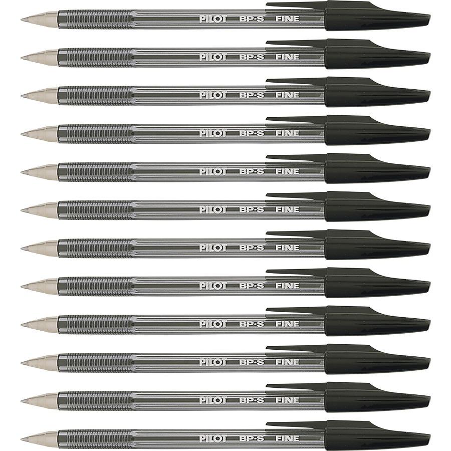 Pilot Better Bp S Ball Stick Pens Fine Pen Point 0 7 Mm Size Refillable Black Crystal Clear Barrel 1 Dozen