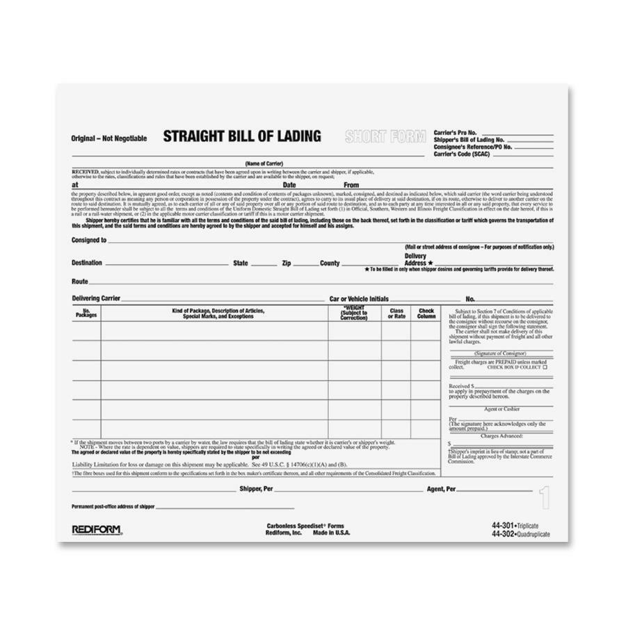 Rediform Snap A Way Bill Of Lading Forms RED44301