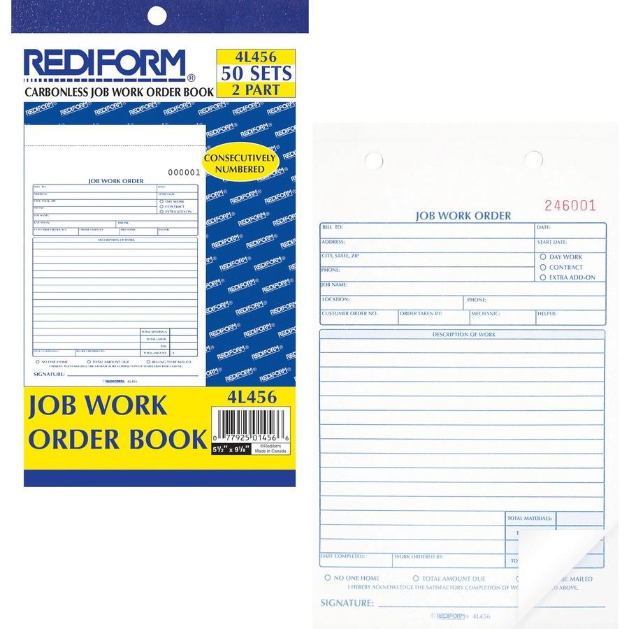rediform 2 part job work order book mac papers inc