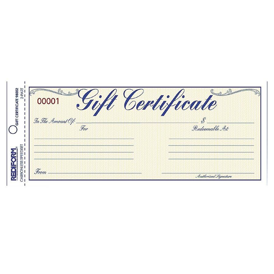 Rediform Gift Certificates with Envelopes - 8 50