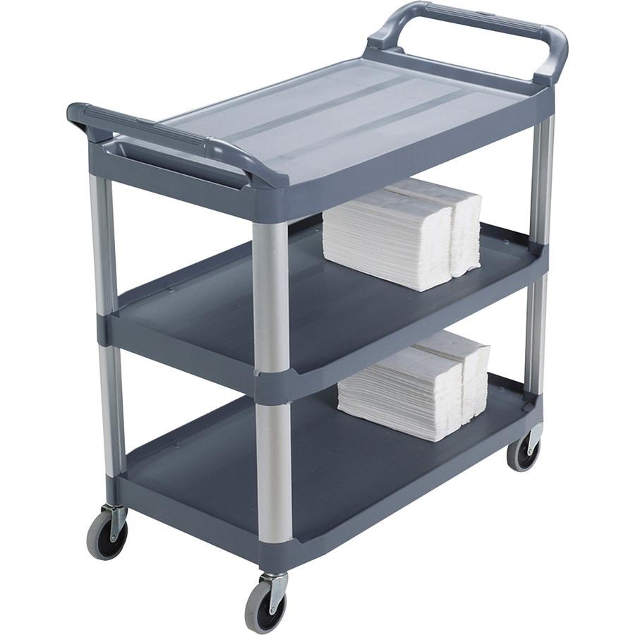 Rubbermaid Commercial 3 Shelf Mobile Utility Cart 3 Shelf 300 Lb Capacity 4 Caster Size Aluminum 406 Width X 20 Depth X 378 Height