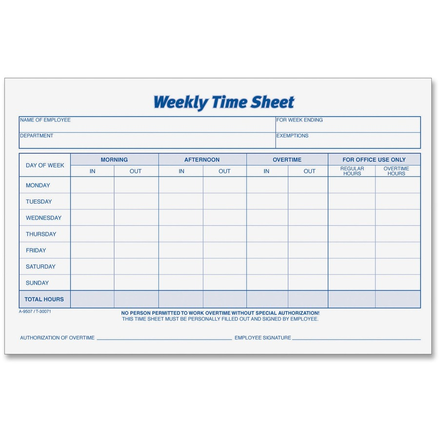Weekly Timesheet Template | Tops 30071 Tops Weekly Timesheet Form Top30071 Top 30071 Office
