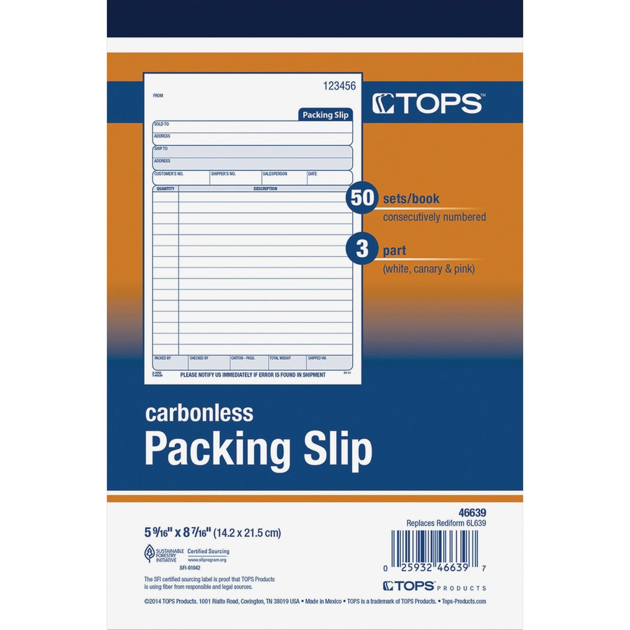Wholesale TOPS 3-Part Packing Slip Book TOP46639 Discount Price