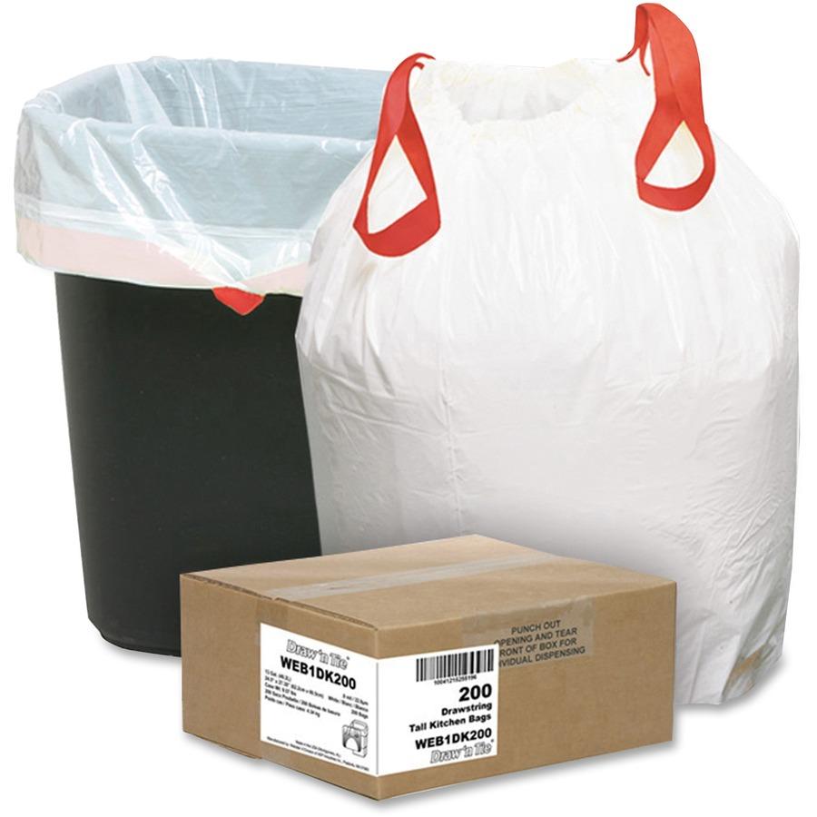 Webster 13 Gallon Drawstring Trash Bags - Small Size - 13 gal