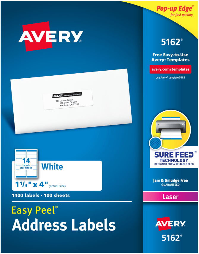 Avery® Easy Peel® Address Labels, Sure Feed™ Technology, Permanent Adhesive, 1-1/3