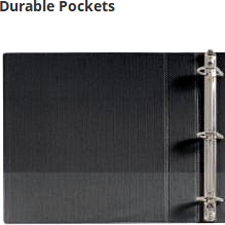 Binders feature two interior pockets for storing loose and unpunched paperwork.